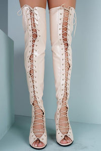Abril1 Nude Open Toe Lace Up Patent Over the Knee Boot