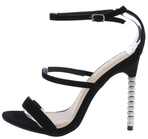 Grace217 Black Tri Strap Rhinestone Detailed Stiletto Heel