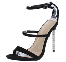 Load image into Gallery viewer, Grace217 Black Tri Strap Rhinestone Detailed Stiletto Heel