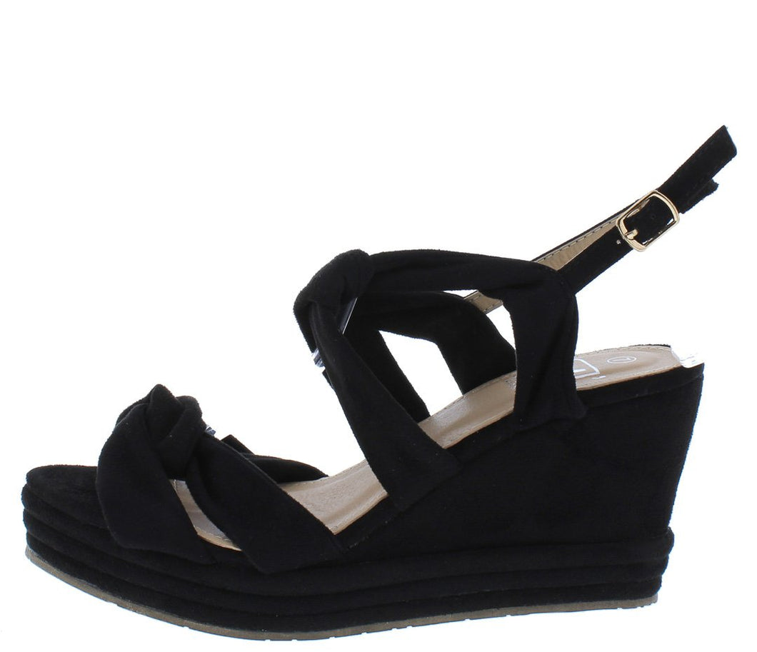 Alba1 Black Dual Knotted Open Toe Slingback Platform Wedge