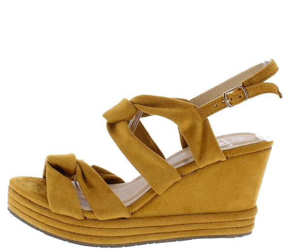 Alba1 Tan Dual Knotted Open Toe Slingback Platform Wedge