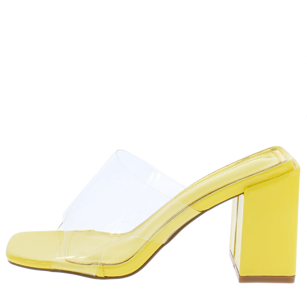 Gloria218 Yellow Lucite Open Toe Mule Block Heel
