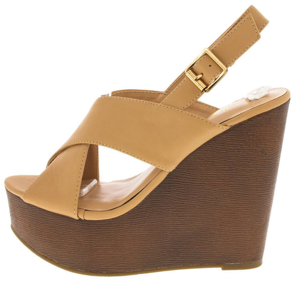 5dcdf70cb78 Alia8 Tan Crossover Peep Toe Wedge - Wholesale Fashion Shoes