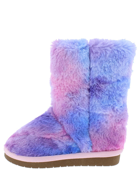 Alice9k Purple Multi Faux Fur Pull On Kids Boot - Wholesale Fashion Shoes