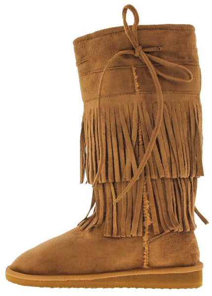 Aling82 Tan Fringe Faux Fur Boot