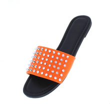 Load image into Gallery viewer, Jennifer298 Neon Orange Spike Stud Open Toe Flat Slide Sandal - Wholesale Fashion Shoes