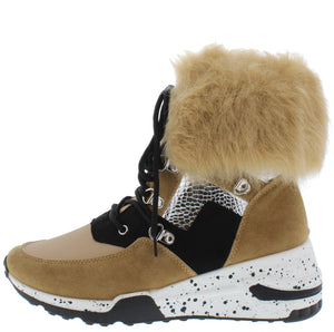 Alora Blush Faux Fur Cuff Lace Up Sneaker Boot - Wholesale Fashion Shoes ?id=17247844171820