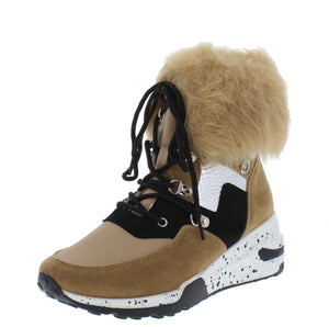 Alora Blush Faux Fur Cuff Lace Up Sneaker Boot - Wholesale Fashion Shoes ?id=17247844204588