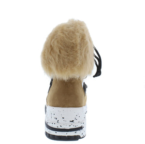 Alora Blush Faux Fur Cuff Lace Up Sneaker Boot - Wholesale Fashion Shoes ?id=17247844237356