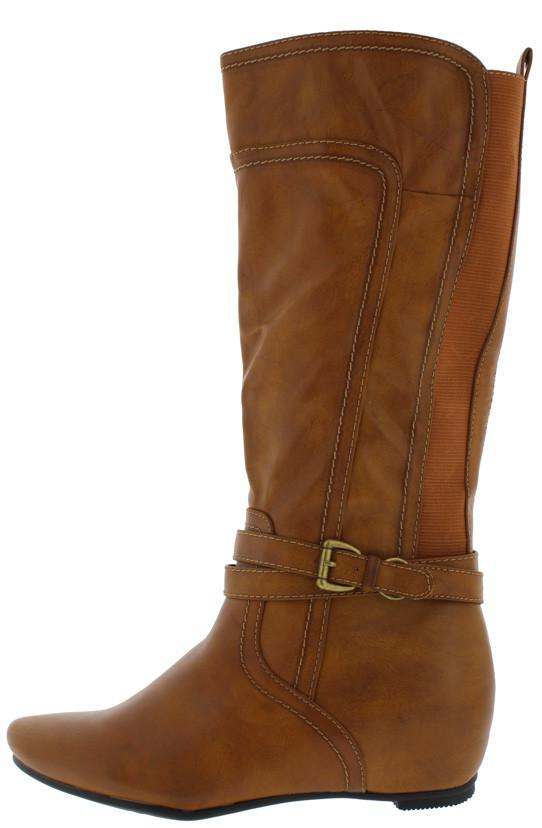 Amar72ef Cognac Pu Dual Elastic Single Wrap Around Strap Hidden Wedge Boot