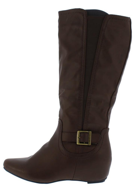 Amar92w Brown Knee High Hidden Wedge Boot