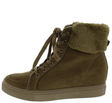 Load image into Gallery viewer, Anchora02 Olive Faux Fur Lace Up Sneaker Wedge Boot