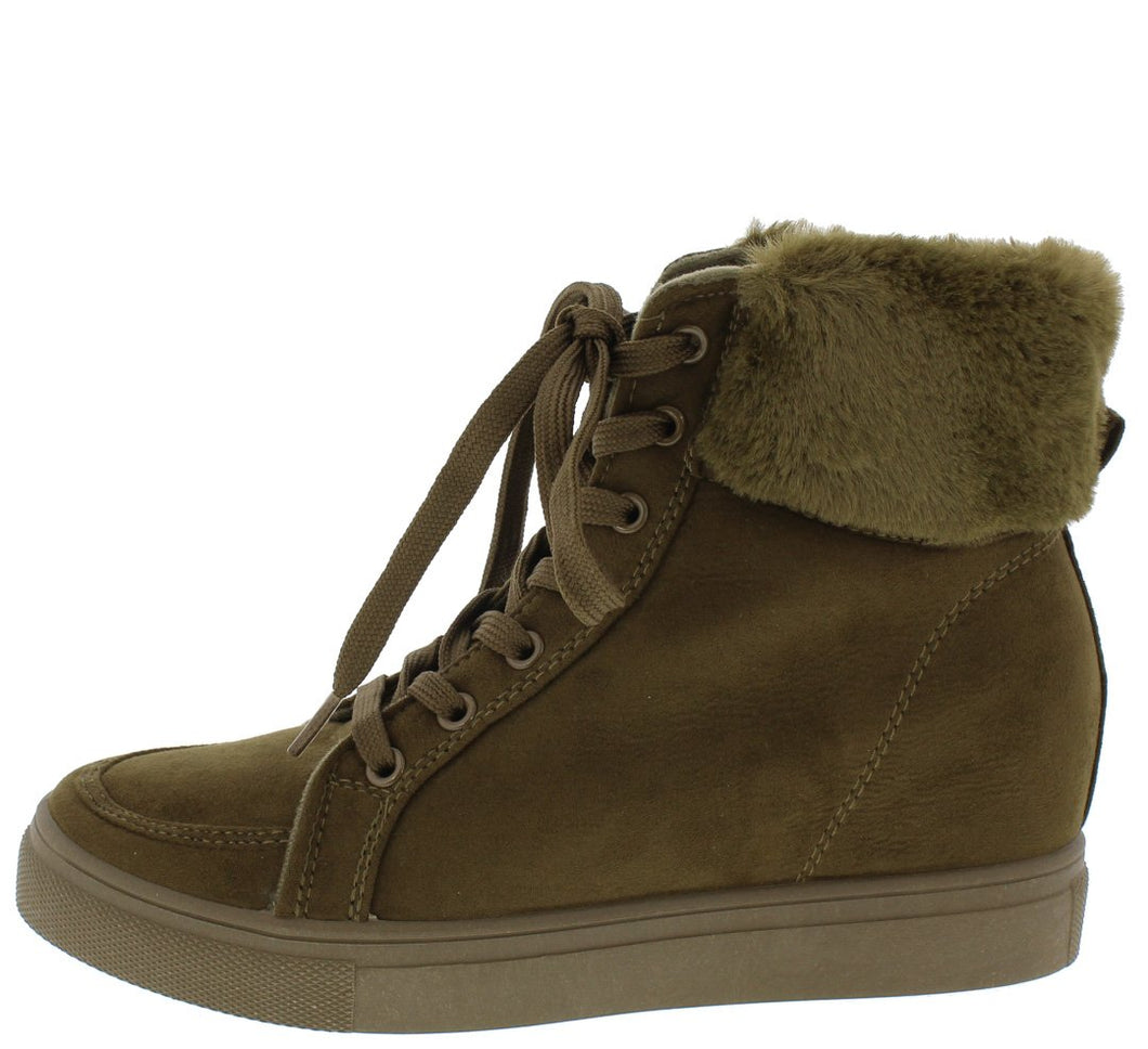 Anchora02 Olive Faux Fur Lace Up Sneaker Wedge Boot