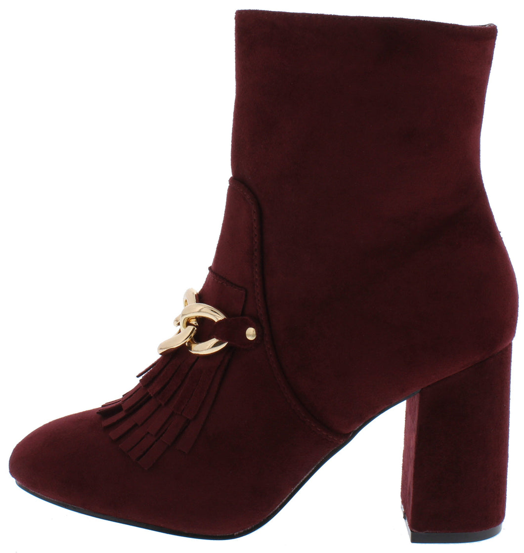 Anesha6 Wine Fringe Chain Almond Toe Ankle Boot