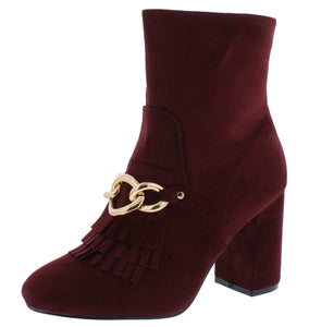 Anesha6 Wine Fringe Chain Almond Toe Ankle Boot - Wholesale Fashion Shoes ?id=12073746792513