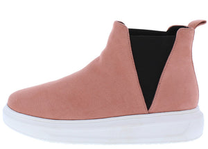 Arena Mauve Round Toe Elastic Panel Sneaker Boot - Wholesale Fashion Shoes ?id=6364680388673