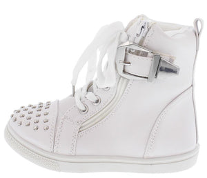 Ariel03 White Studded Hi Top Kids Sneaker Flat - Wholesale Fashion Shoes ?id=9046981825