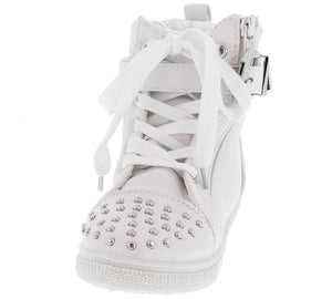 Ariel03 White Studded Hi Top Kids Sneaker Flat - Wholesale Fashion Shoes ?id=9046982209
