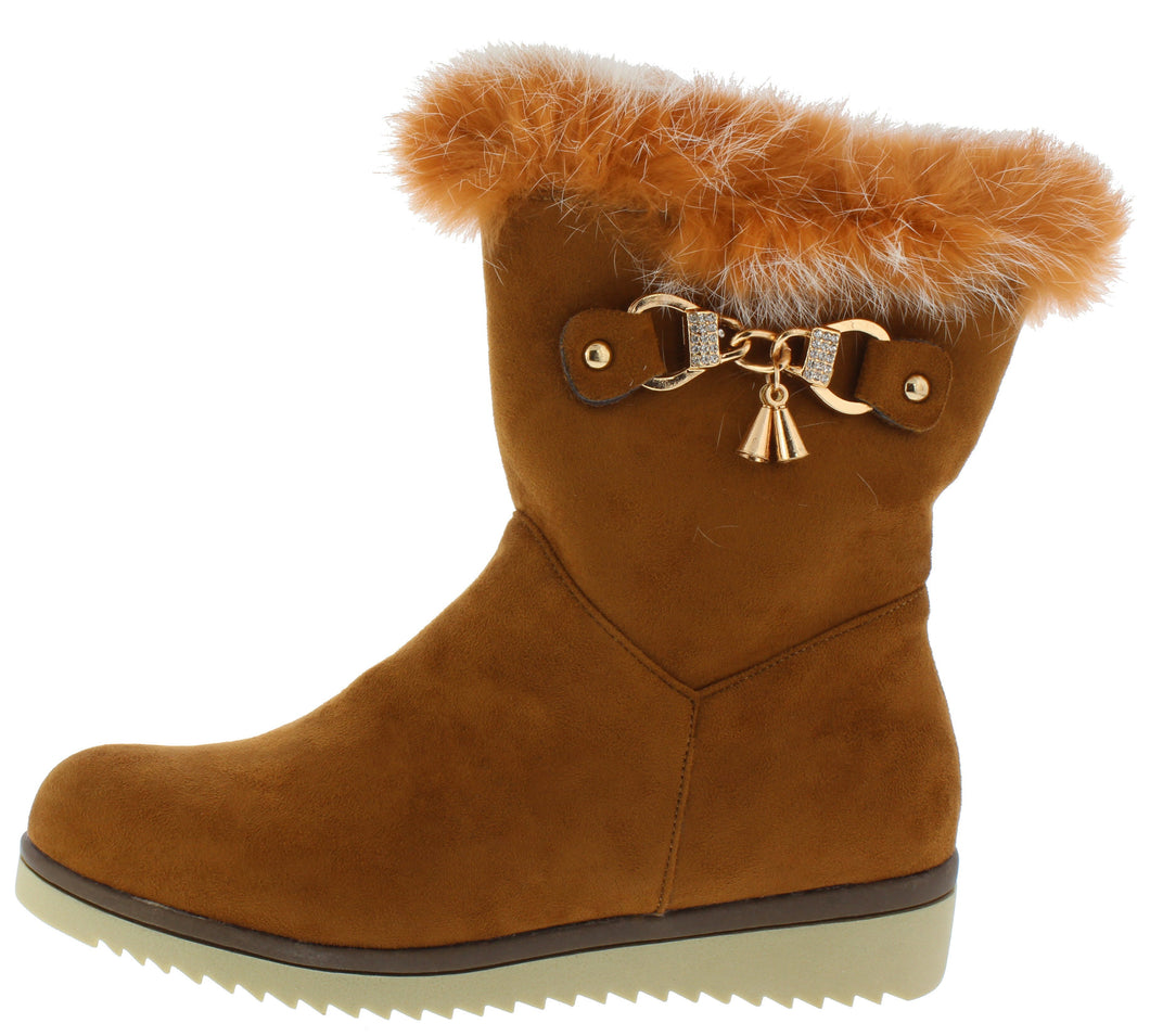 B7014 Camel Suede Toggle Chain Faux Fur Boot - Wholesale Fashion Shoes