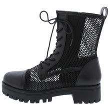 Load image into Gallery viewer, Bali1 Black Perforated Lace Up Combat Boot - Wholesale Fashion Shoes ?id=17256309653548