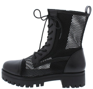Bali1 Black Perforated Lace Up Combat Boot - Wholesale Fashion Shoes ?id=17256309653548