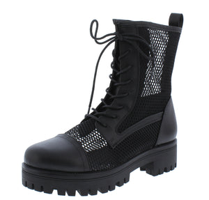 Bali1 Black Perforated Lace Up Combat Boot - Wholesale Fashion Shoes ?id=17256309686316