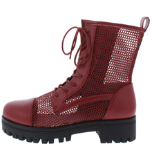 Load image into Gallery viewer, Bali1 Wine Perforated Lace Up Combat Boot - Wholesale Fashion Shoes ?id=17256308899884