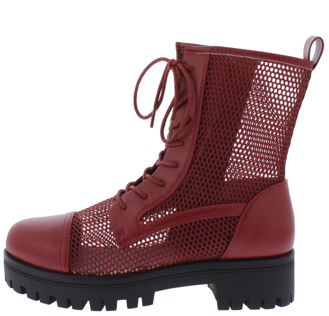 Bali1 Wine Perforated Lace Up Combat Boot - Wholesale Fashion Shoes ?id=17256308899884