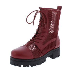 Bali1 Wine Perforated Lace Up Combat Boot - Wholesale Fashion Shoes ?id=17256308867116