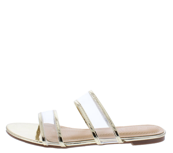Stephanie254 Light Gold Sheer Metallic Dual Strap Flat Sandal