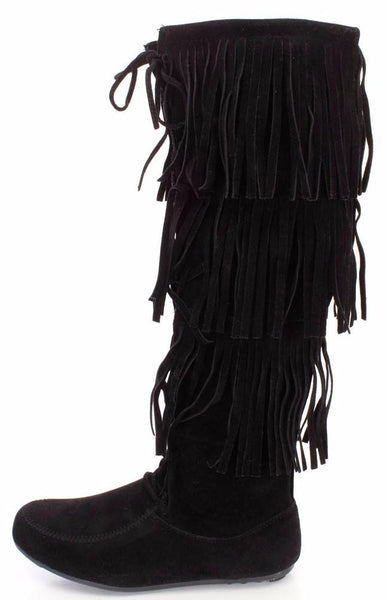 Baylee10 Black Knee High Lace Up Multi Layer Fringe Boot