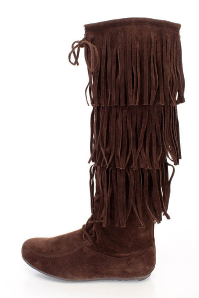 Baylee10 Brown Knee High Lace Up Multi Layer Fringe Boot