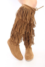 Load image into Gallery viewer, Baylee10 Tan Knee High Lace Up Multi Layer Fringe Boot