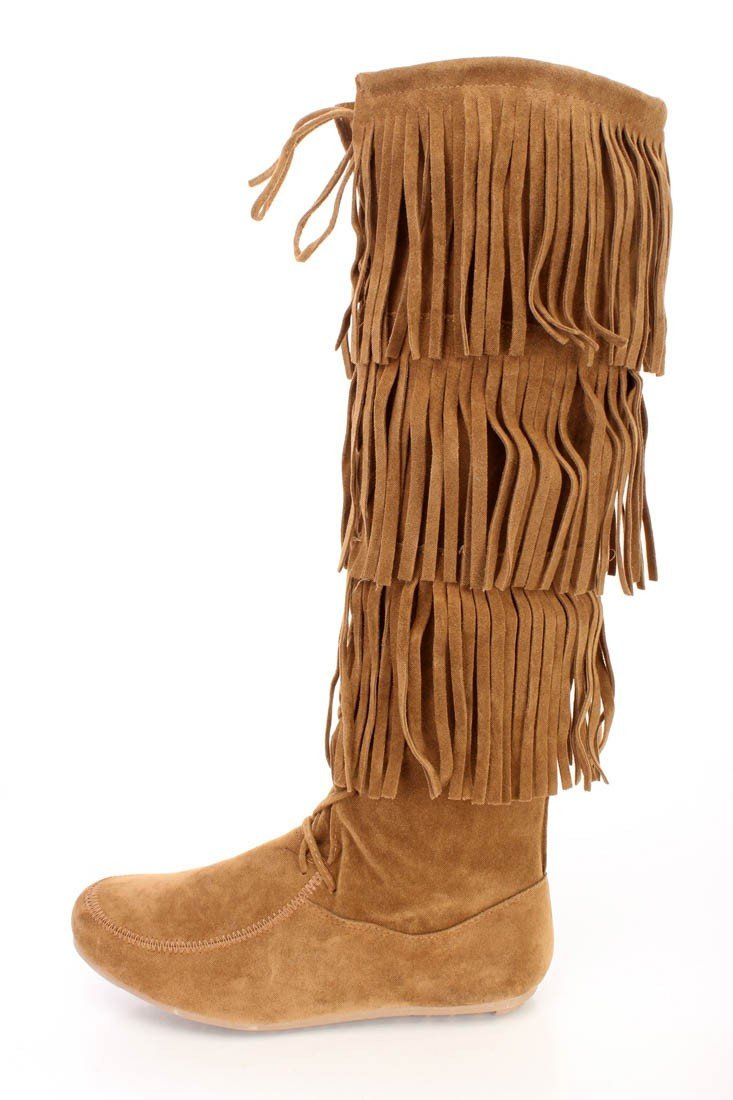 Baylee10 Tan Knee High Lace Up Multi Layer Fringe Boot