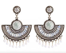 Load image into Gallery viewer, Beaded Fan Statement Earrings White
