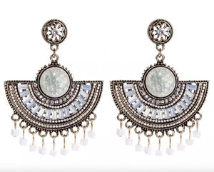 Beaded Fan Statement Earrings White