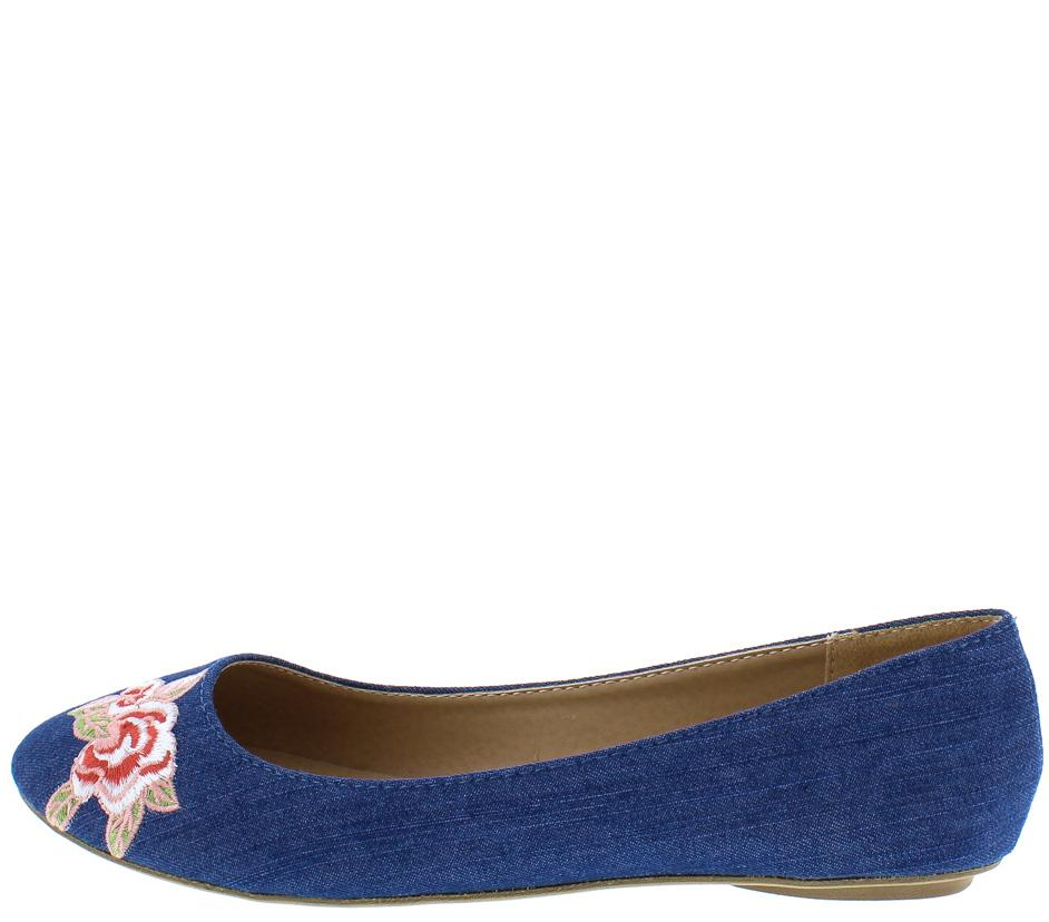 Bee32 Blue Denim Pink Embroidered Flower Round Toe Flat