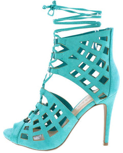 BERLIN61 BRIGHT JADE OPEN TOE MULTI CUT OUT LACE UP HEEL