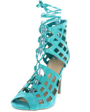 Load image into Gallery viewer, BERLIN61 BRIGHT JADE OPEN TOE MULTI CUT OUT LACE UP HEEL
