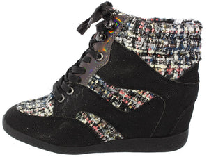 Bethany17 Black Tweed Lace Up Sneaker Wedge - Wholesale Fashion Shoes