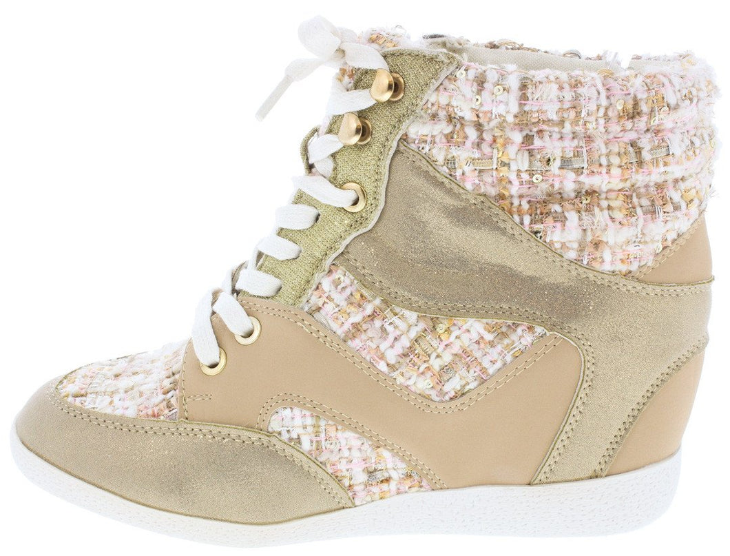 Bethany17 Natural Tweed Lace Up Sneaker Wedge - Wholesale Fashion Shoes