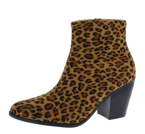 Adele089 Leopard Stacked Heel Ankle Boot