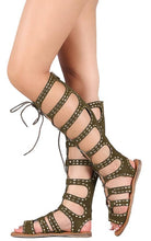 Load image into Gallery viewer, Bliss50m Olive Rhinestone Lace Up Gladiator Boot