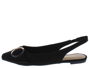 Blog53 Black Buckle Pointed Toe Slingback Mule Flat - Wholesale Fashion Shoes ?id=13946805977132