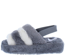 Load image into Gallery viewer, Boo Grey Beige Faux Fur Open Toe Slingback Sandal - Wholesale Fashion Shoes ?id=18091914166316