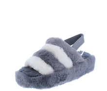 Load image into Gallery viewer, Boo Grey Beige Faux Fur Open Toe Slingback Sandal - Wholesale Fashion Shoes ?id=18091914133548
