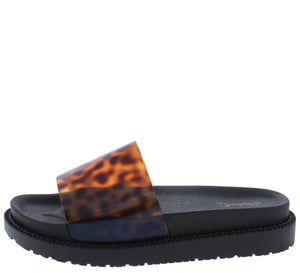 Bossy08 Amber Black Lucite Open Toe Chunky Flat Sandal - Wholesale Fashion Shoes