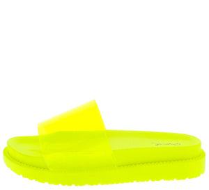 Bossy08 Yellow Lucite Open Toe Chunky Flat Sandal - Wholesale Fashion Shoes