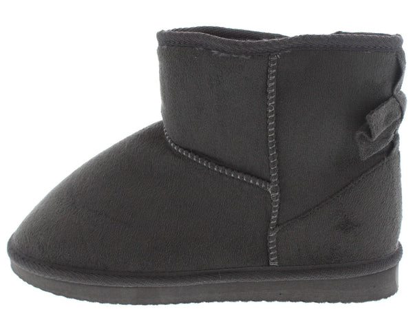 Bow1 Grey Faux Fur Bow Accented Boot