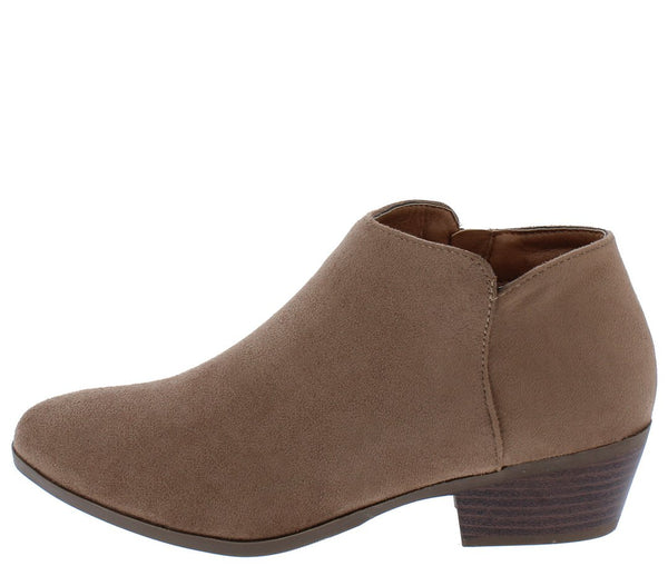 Bradee07 Taupe Almond Toe Stacked Heel Ankle Boot